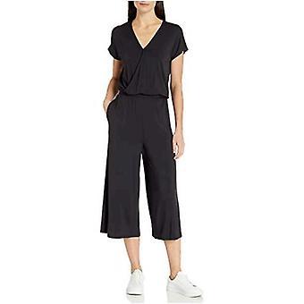 Essentials Damen Kurzarm Surplice abgeschnitten Weitbein Jumpsuit