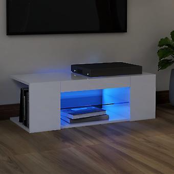 """vidaXL ארון טלוויזיה עם נורות LED לבן מבריק גבוה 90x39x30 ס""""מ"""