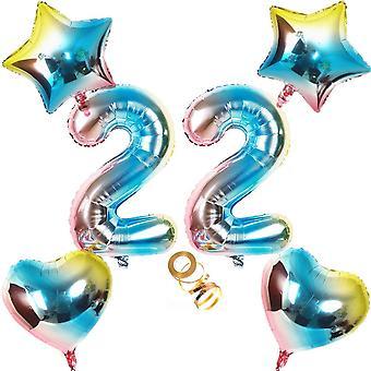 Luftballons Zahl 22 Nummer 22 Luftballon Regenbogen 22 Zahlenballon Folienballon 32 inch 80cm XL für