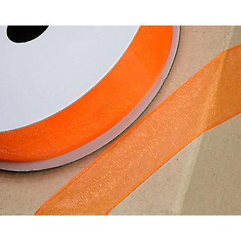 25m Orange 6mm Bred Vävd Edge Organza Band för hantverk