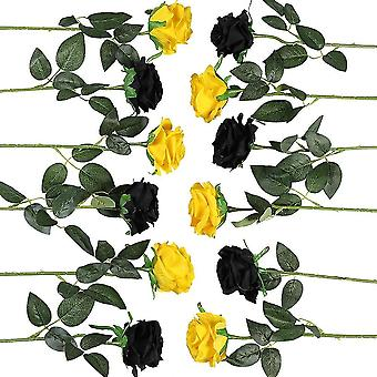 12 Pieces Artificial Roses Flower Bouquet Fake Silk Flowers Home Wedding Party Decor (black, Yellow)