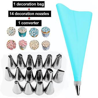 8/10/16Pcs silicone kitchen accessories icing piping cream pastry bag +14 stainless steel nozzle set diy cake decorating tips