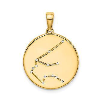 925 Sterling Silver 14k Guldpläterad och CZ Cubic Zirconia Simulerad Diamant Aquarius Zodiac Hänge Halsband Smycken Gif