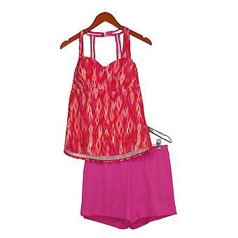 denim &co. badedrakt strand h-back tankini topp med shorts rosa a375185