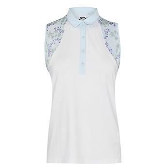 Slazenger Damen Golf Print Polo Shirt Top Ärmellos Klappkragen