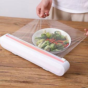 الساخنة 1pc البلاستيك التفاف موزعات البلاستيك التفاف أدوات المطبخ التشبث الغذاء التفاف موزع الفيلم القاطع حامل التخزين