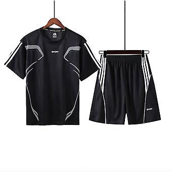 Urheilupuku Miesten's Lyhythihainen T-paita Running Fitness Casual Vaatteet Kaksiosaiset Kesäs shortsit Pikakuivaus Urheiluvaatteet