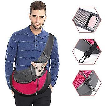 Hundetragetasche Einstellbare WelpenKatze Schultertasche Kleine Haustier Reisetasche Hunde Handtasche mit atmungsaktiver Mesh-Tasche Tragbare Hundetasche für Outdoor-Markt Rot