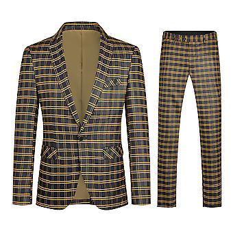 Yunyun Homme Costume deux pièces Veste de costume à carreaux à poitrine unique + pantalon