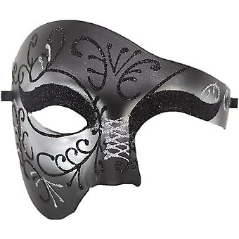 Pvc Cosplay Mask Plastic Half Face Punk Carnival Men's/women's Accessories-two-tone Silver