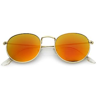 Retro Metal Frame Thin Temples Colored Mirror Lens Round Sunglasses 50mm