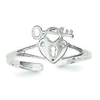 925 Sterling Sølv Solid Kjærlighet Hjerte Lås og Nøkkel Tå Ring Smykker Gaver til kvinner - 1,1 Gram
