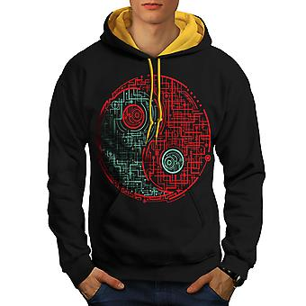 Symbol Dark Light Japan Men Black (Gold Hood)Contrast Hoodie | Wellcoda
