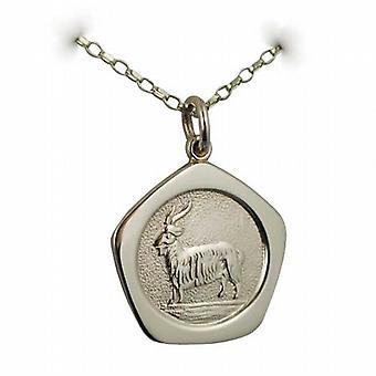 9ct oro 21mm cinco caras Capricornio zodiaco colgante con una pulgadas belcher cadena 24