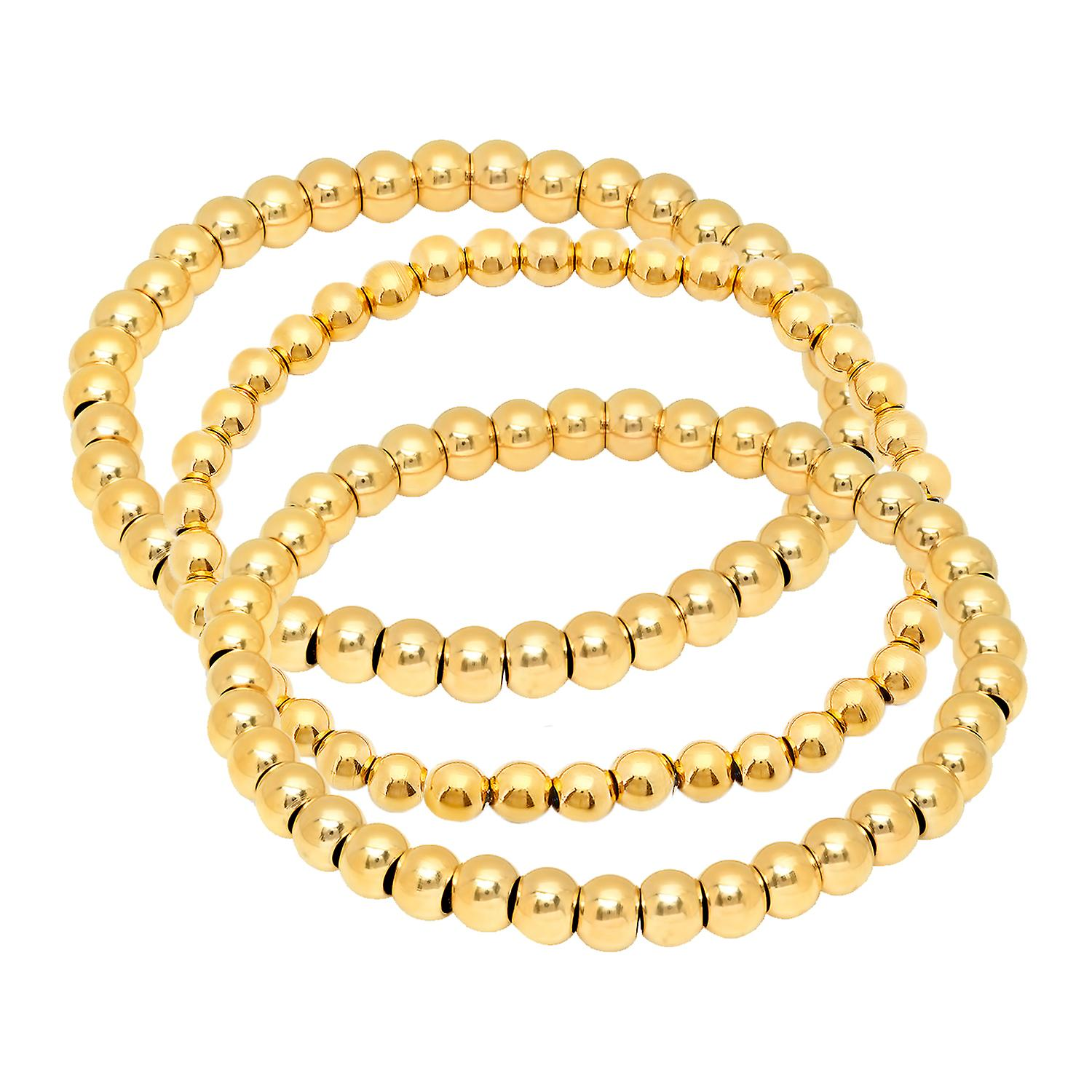 Ladies Set Of 3 18K Gold Plated Beaded Stretch Bracelets