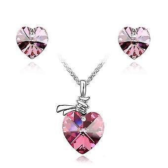 Pedra de cristal de Womens amor coração pingente de colar e brincos joias Set