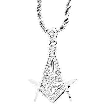 Iced Out Bling Micro Pave Anhänger - FREIMAURER silber
