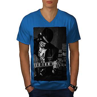 Artist Musician Men Royal BlueV-Neck T-shirt   Wellcoda