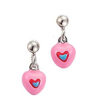 Spejder børn øreringe øre cutter sølv hjerte pink blå piger 262104100