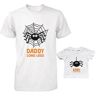 Lange benen spinnen vader en Baby bijpassende T-Shirts