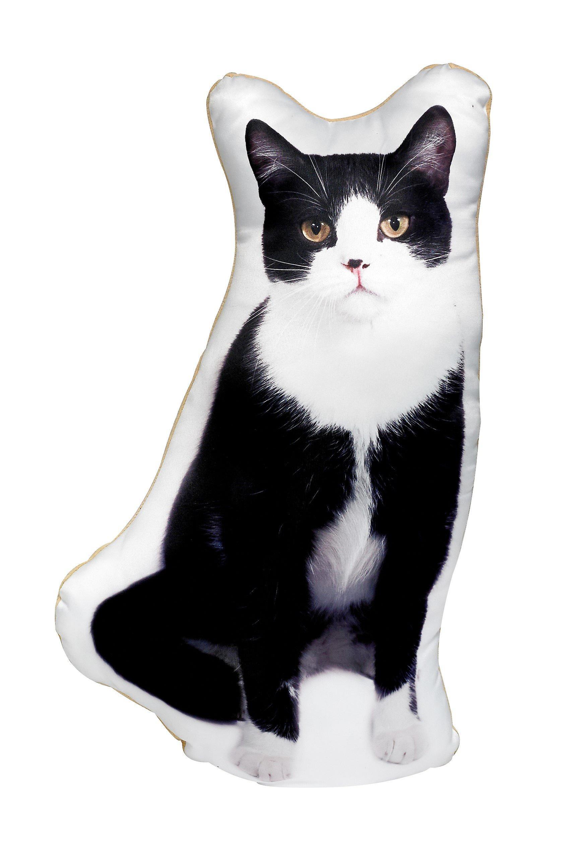 Adorable black & white cat shaped cushion