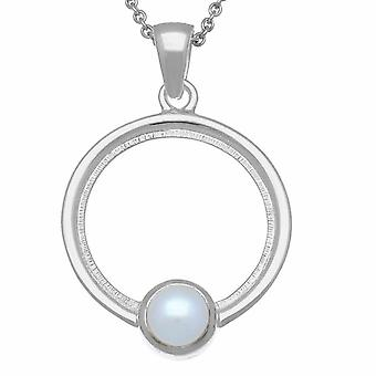Sterling Silver Scottish June Birthstone Hand Crafted Necklace Pendant - Pearl Stone - SP295