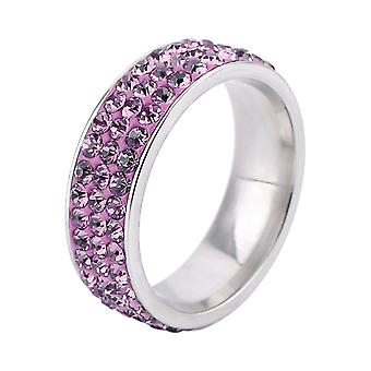 Stainless steel ring with rhinestones Ring size O