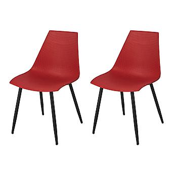SoBuy lot de 2 chaises de cuisine Bureau salon salle à manger rouge FST60-Rx2