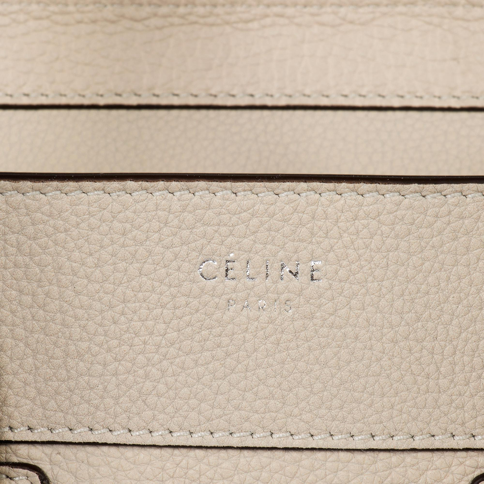 Celine Micro Luggage Leather Bag   Beige with Silver Hardware