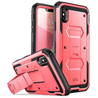 iPhone Xs Max Case, [Armorbox] [Built in Screen Protector] [Heavy Duty Protection] [Kickstand] Case (2018) (Pink)