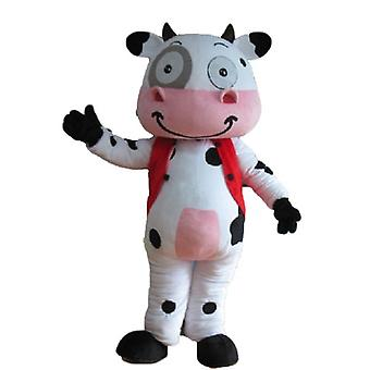 SPOTSOUND of white, black and pink, very smiling cow mascot