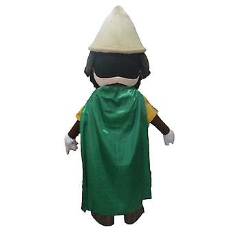 SPOTSOUND Knight mascot, with a yellow outfit and a green cape