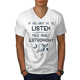 Astromomy Geek Men WhiteV-Neck T-Shirt | Wellcoda