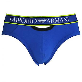 Emporio Armani Magnum Style Experience Push Up Brief, Electric Blue With Black / Yellow Trim, Small