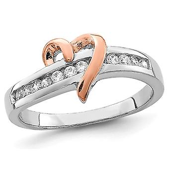 Sterling Silver White and Yellow Vermeil Polished Heart Promise Cubic Zirconia (CZ) Ring