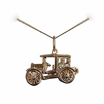 9ct Gold 11x22mm moveable Vintage car Pendant with a curb Chain 20 inches