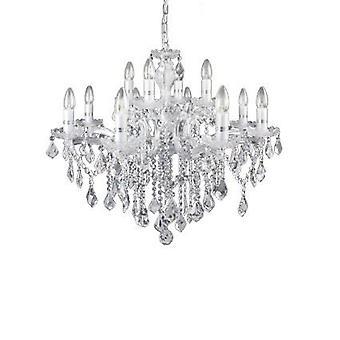 Ideel Lux - Florian krom og klar glas 12 lys lysekrone IDL035604