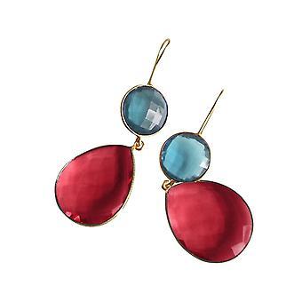 Gemshine örhängen blå topas och röd kvarts droppar i 925 silver eller guldpläterad