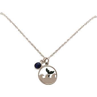 Maritim Nautics halsband Waves Sea fin 925 silver, guldpläterad ros, safir