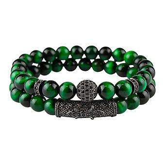 Bracelet set-meled beads and rhinestones, green