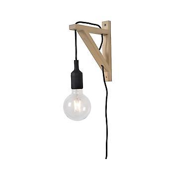Lucide fijar pared triángulo moderno madera negro y luz lámpara de pared de madera