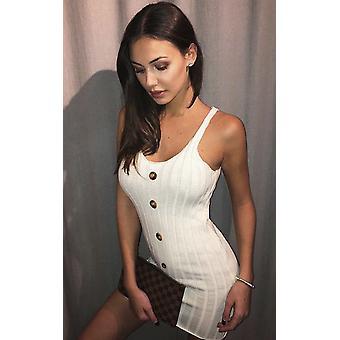 IKRUSH Womens Tyla Knitted Button Mini Dress