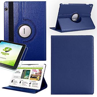 For Huawei MediaPad M5 Lite 10.1 inch 360 degree sleeve cover dark blue art leather case new + 0.3mm hard glass