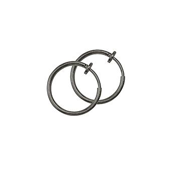 Eternal Collection Hoopla 17mm Gun Metal Tone Clip On Hoop Earrings