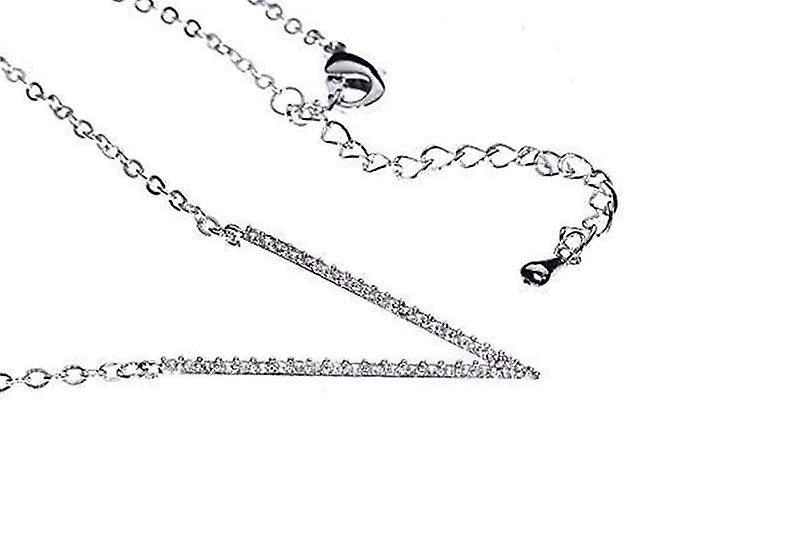 Dainty Cubic Zirconia Very V Pendant Necklace