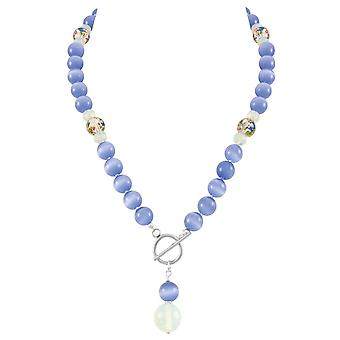 Eternal Collection Serene Cornflower Blue Cats Eye Beaded Silver Tone Toggle Statement Necklace