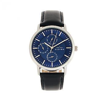 Elevon Lear Leather-Band Watch w/Day/Date - Blue