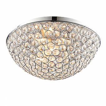 3 Light Bathroom Flush Ceiling Light Chrome, Clear Crystal Detail Ip44