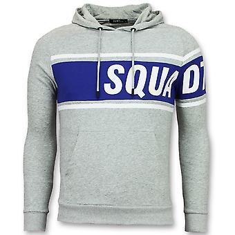 Hooded Sweater - Grey Hoodie - Blue