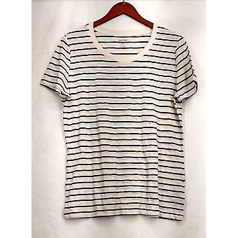 Mossimo Supply Co. XXL Striped Short Sleeve Tee White / Black Top Womens #7